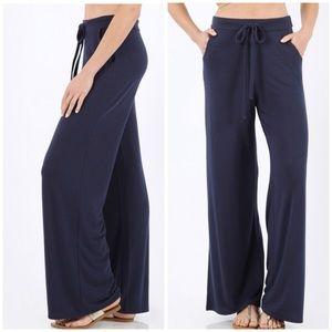 Pants - Tie-Waist Lounge Pants - Navy
